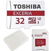 東芝 Toshiba 超高速U3 4K対応 microSDHC 32GB + SD アダプター + ...