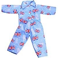 Dovewill おもちゃ 6色選ぶ 寝間着 ナイトウェア パジャマセット 18インチドール人形用 - ブルー#1