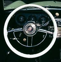 Wheelskins Acura本革ホワイトステアリングホイールcover-size AXX