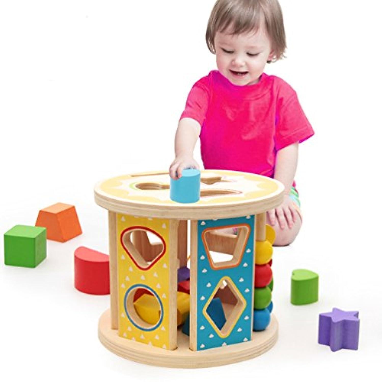 木製玩具 赤ちゃん 積み木ボックス 型はめ キッズ ベビー 子供用 ブロック 木のおもちゃ マッチング 幾何認知 図形認知 幼児用 はめこみ 誕生日 立体パズル 可愛い カラフル 脳活性化 13穴 1歳/2歳/3歳
