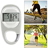 3D Digital Pedometer, AUOKER Simple Pedometer for Walking with Carabiner Clip, Accurately Track Steps and Miles/Km Calories Burned & Activity Time 7 Days Memory, LCD Step Counter for Men, Women
