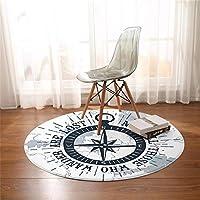 Rynnz 漫画動物ラウンドカーペット寝室リビングルーム鮮やかなプリント椅子エリア敷物ブルーフロアマット用寝室キッズプレイテントマット円形60CM