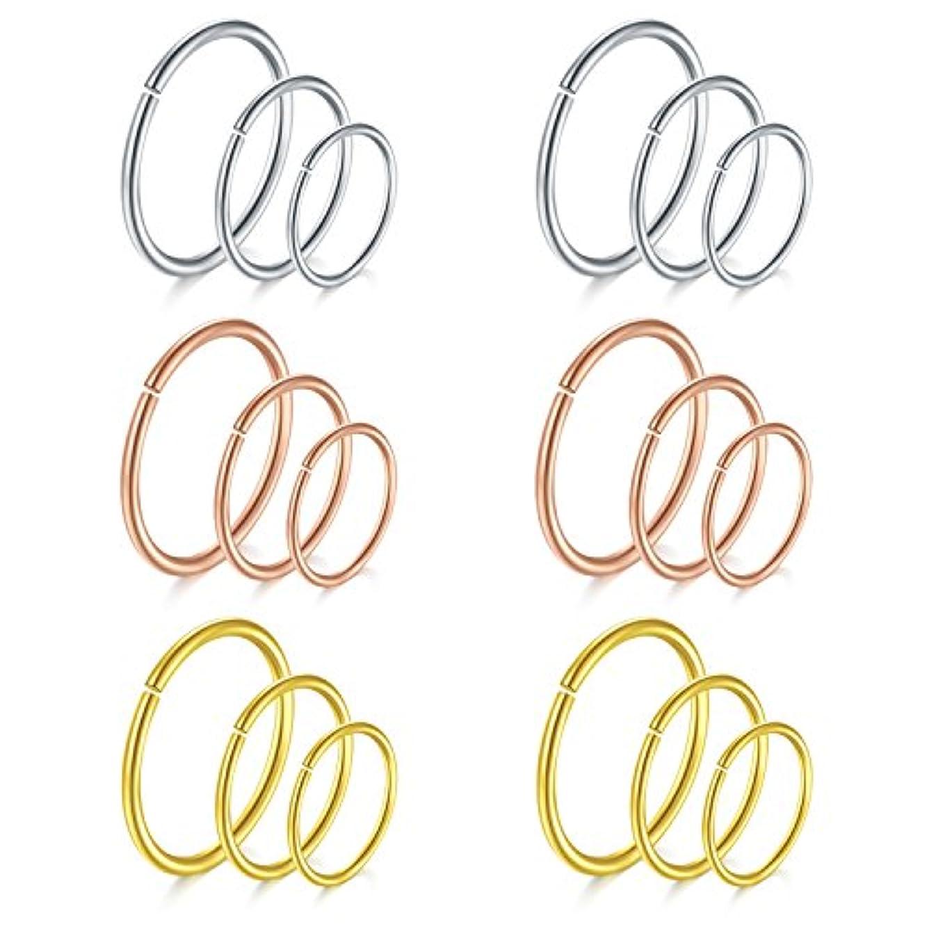 周波数性別メルボルンVCMART鼻フープrings-18 Guageイヤリング – らせんリップリング耳軟骨ピアスジュエリー18pcs