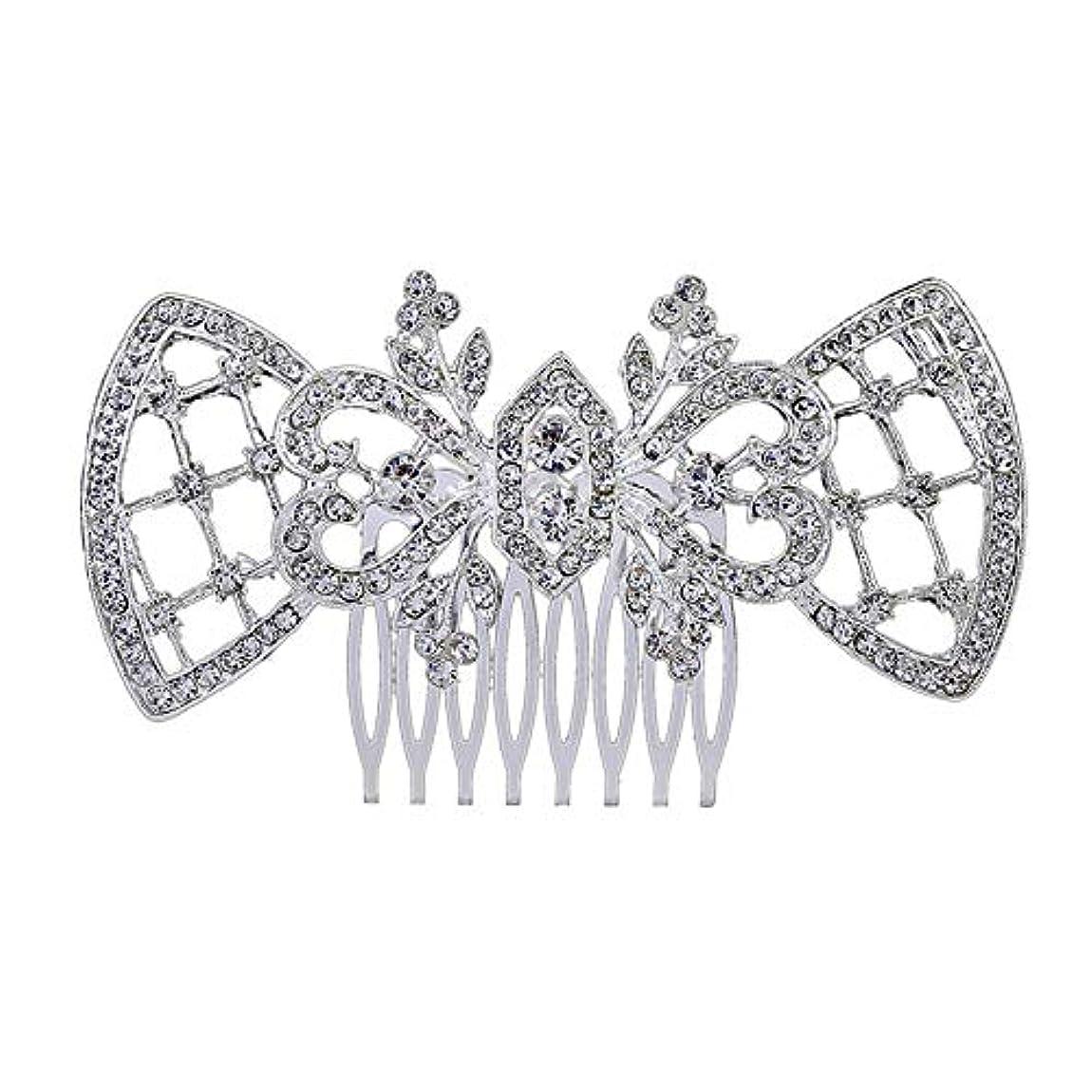 分泌する線霊髪の櫛、櫛、ブライダル髪、髪の櫛、ハート形、ラインストーンの櫛、合金の帽子、結婚式のアクセサリー