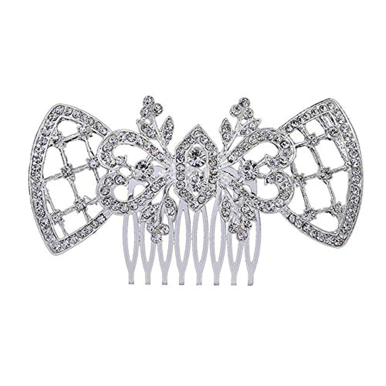 茎ピジン名目上の髪の櫛、櫛、ブライダル髪、髪の櫛、ハート形、ラインストーンの櫛、合金の帽子、結婚式のアクセサリー