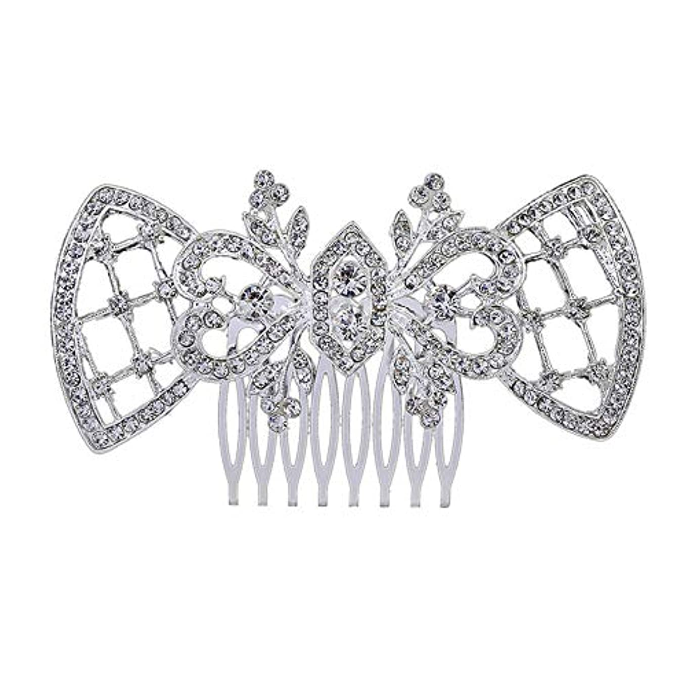 産地ちらつきラブ髪の櫛、櫛、ブライダル髪、髪の櫛、ハート形、ラインストーンの櫛、合金の帽子、結婚式のアクセサリー