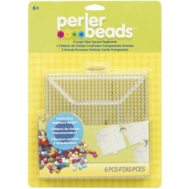 Perler Fun Fusion Bead Pegboards 4Pkg-Clear Square