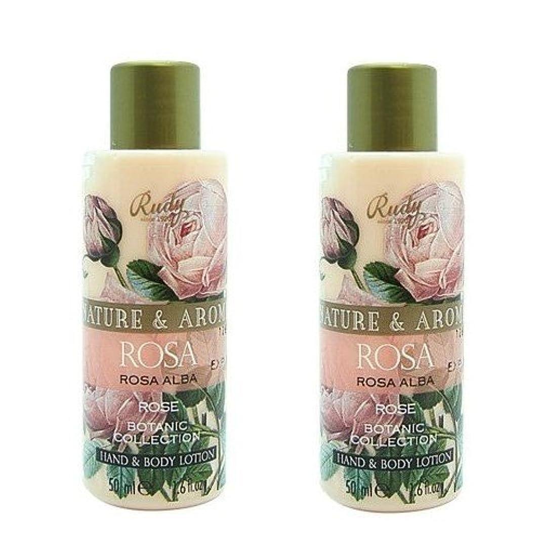 平らなかすかな押し下げる(2個セット)RUDY Nature&Arome SERIES ルディ ナチュール&アロマ Mini Body lotion ミニボディローション ローズ