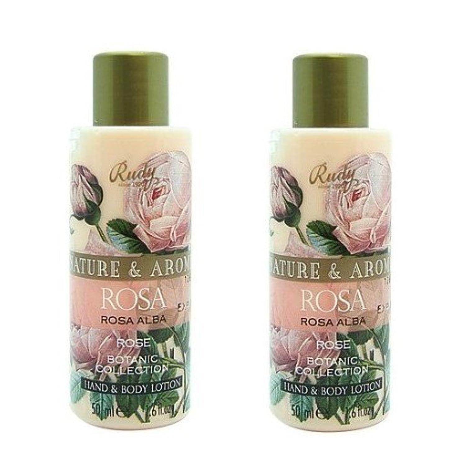 事前に巨大な(2個セット)RUDY Nature&Arome SERIES ルディ ナチュール&アロマ Mini Body lotion ミニボディローション ローズ