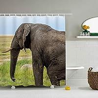象シンプル 防カビ シャワー カーテン 洗面所 ユニットバス バスルーム 浴室 風呂 シャワーカーテン 防水 防カビ 加工 カーテンリング 付属 取付簡単 165/180/200×180cm
