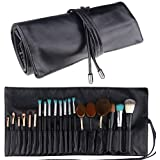 Relavel Makeup Brush Rolling Case Pouch Holder Cosmetic Bag Organizer Travel Portable 18 Pockets Cosmetics Brushes Black Leat