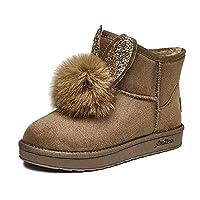 女性の靴冬の新しいウサギの耳ヘアボール暖かいショートブーツフラット短いチューブ雪のブーツの女の子,Brass,M