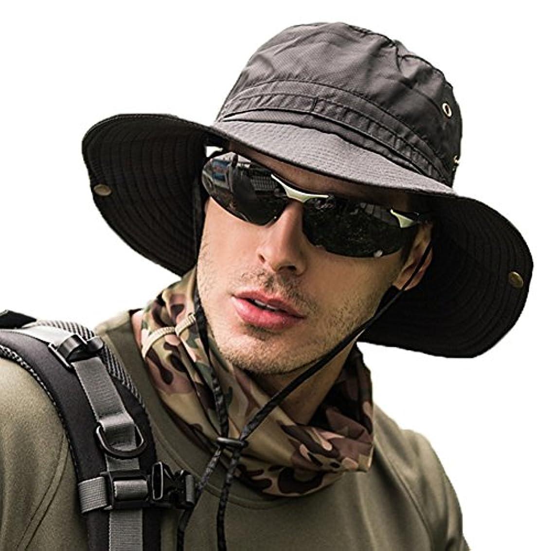 自分を引き上げる欠如理想的サファリハット メンズ 帽子 つば広 軽薄 通気性抜群 日除け 紫外線対策 uvカット 折りたたみ あご紐付き アウトドア 釣り ハイキング 登山 男女兼用
