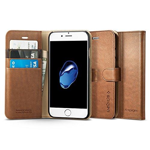 【Spigen】 iPhone 7 ケース, ウォレットS [ レザー 手帳型 スタンド機能 ] アイフォン 7 用 カバー (iPhone7, ブラウン)