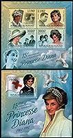 ダイアナ元皇太子妃の切手 ブルンジ2012年2シートセット 鳥(鳩)・赤十字