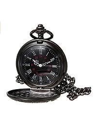 RaiFu 懐中時計 ポケットウォッチ ファッション ヴィンテージ ブラック ローマン フラワー