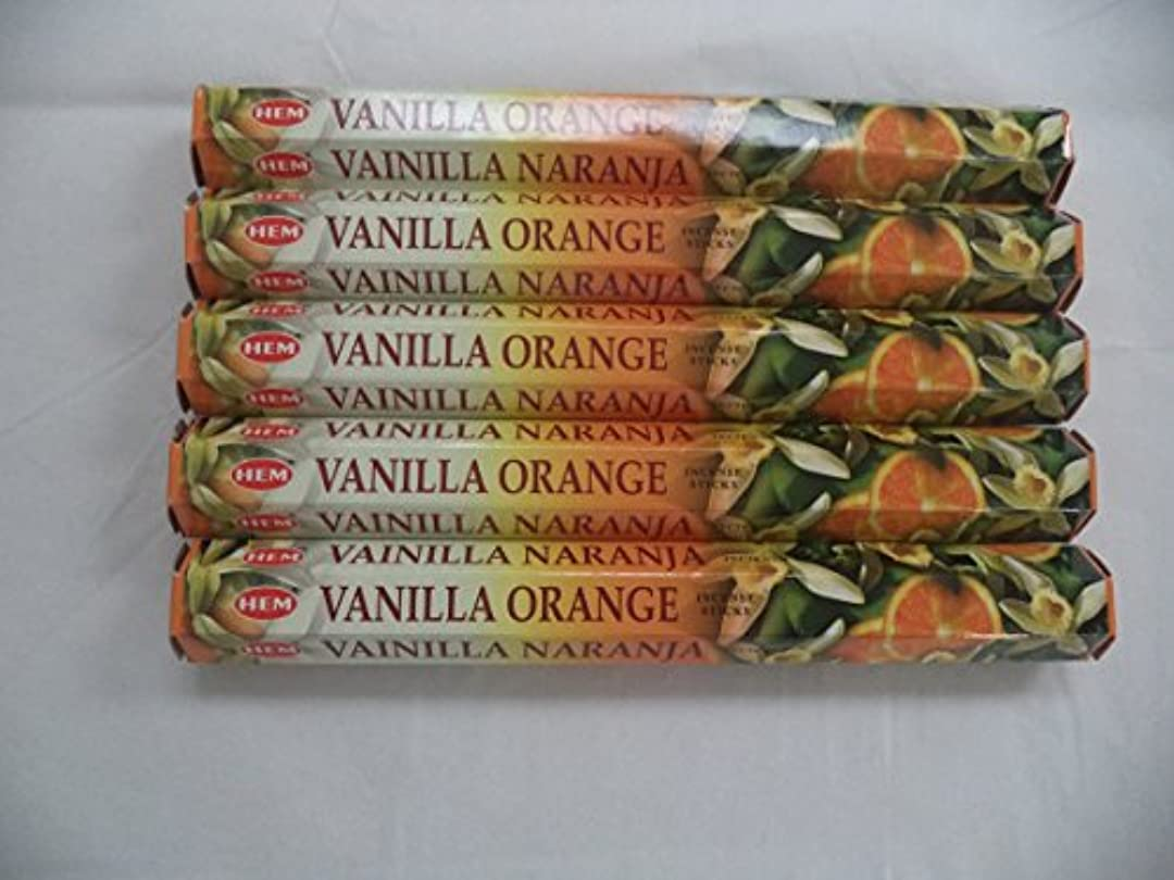 再生発音する休みHemバニラオレンジ100 Incense Sticks (5 x 20スティックパック)