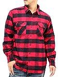 (ルーシャット) Roushatte 大きいサイズ メンズ シャツ ネルシャツ 長袖 チェック 柄 7color 3L レッド