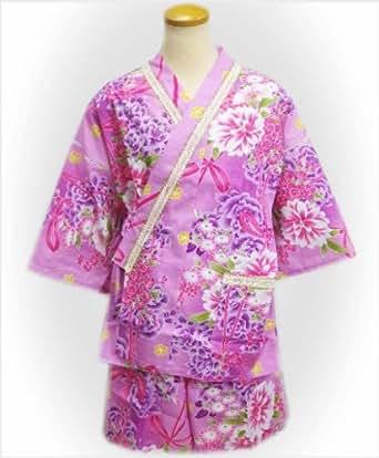 女性用ラメレース甚平じんべい紫ピンク地可憐花ブーケ