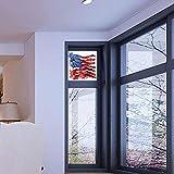 YOLIYANA プライバシーウィンドウフィルム装飾、アメリカ国旗装飾、ガラス非粘着、太陽の前の星空に旗、水平線。 17''x24'' YO_04_03_Q0404_005296