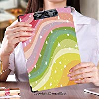個性的 キングジム:クリップボード カラー A4判タテ型 フォルダーボードフォルダーライティングボードカラフルな背景の虹のイラスト (1個)