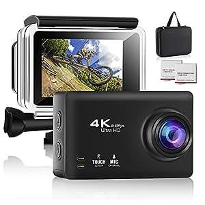 Modohe 4Kアクションカメラ スポーツカメラWiFi搭載30メートル防水 170度超広角レンズ フルHD 1200万画素128G SDカード対応 1250mAhX2電池 2.35インチインチタッチスクリーン Bluetoothリモコン付き
