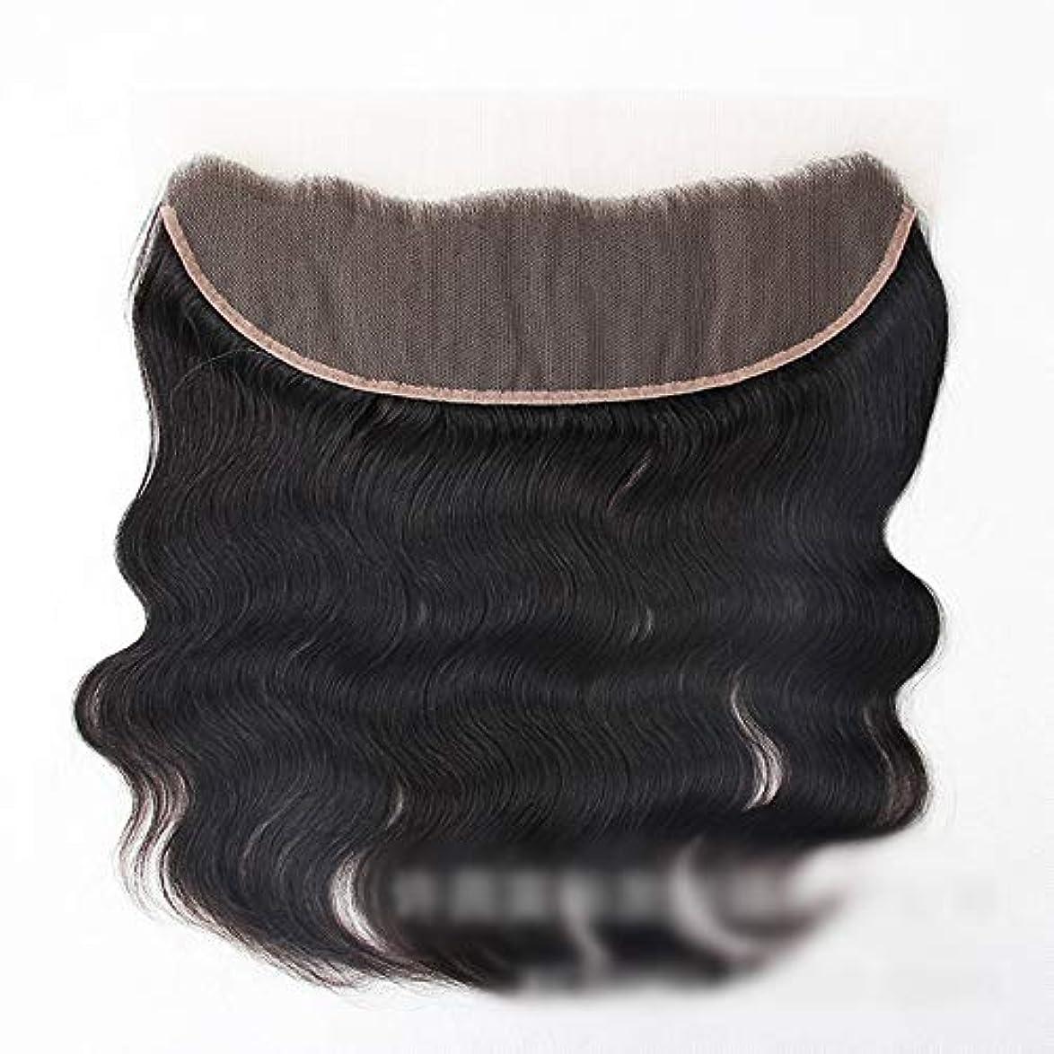 マーキーマージンへこみMayalina 13 * 4レース前頭閉鎖自然な人間の髪の毛の前頭実体波ヘアエクステンション女性の短い巻き毛のかつら (色 : 黒, サイズ : 12 inch)