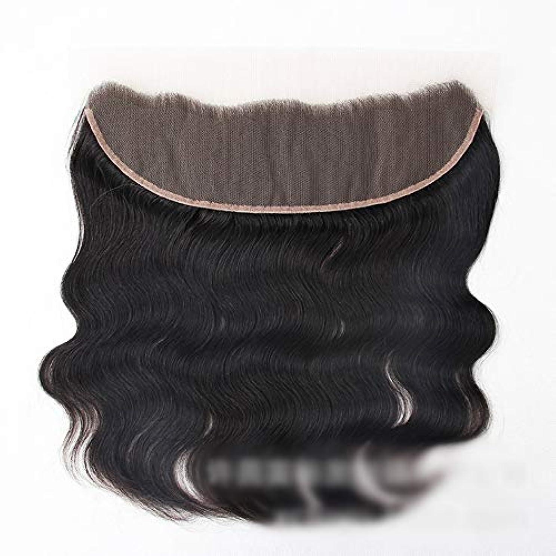 岩突然の苦行Mayalina 13 * 4レース前頭閉鎖自然な人間の髪の毛の前頭実体波ヘアエクステンション女性の短い巻き毛のかつら (色 : 黒, サイズ : 12 inch)