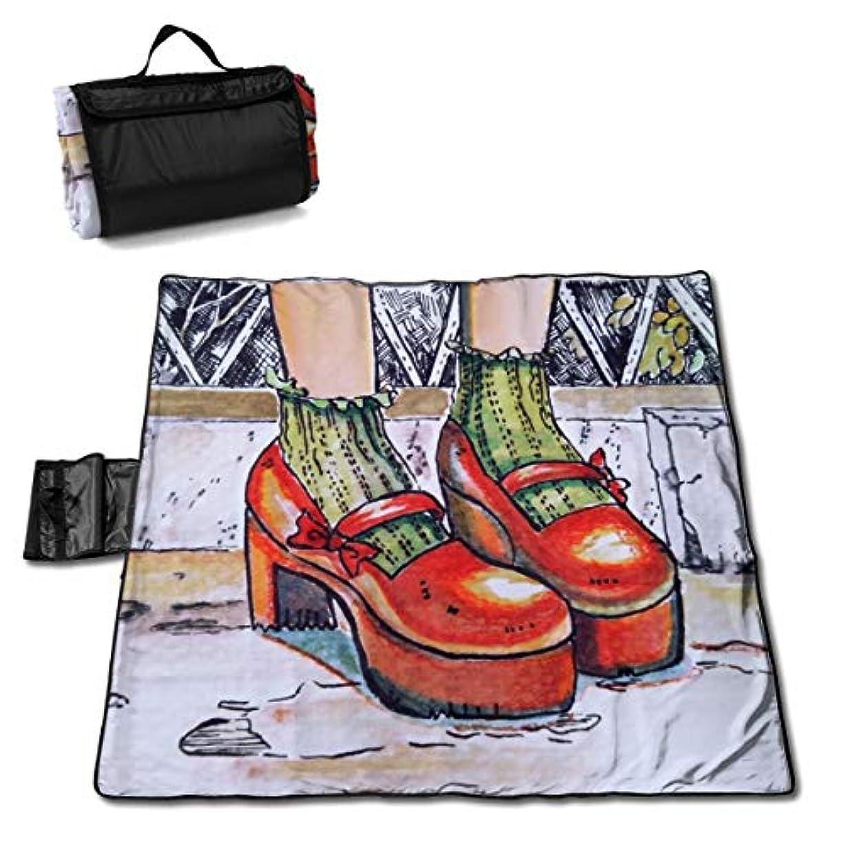 弱い著者エンドテーブルQQ LOVE 赤い靴 レジャーシート ピクニックシート 厚手 レジャーマット 折り畳み 150*145 Cm
