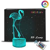 FULLOSUN フラミンゴ ナイトライト 3Dイルミネーション 七色変換 テーブルランプ 子供 プレゼント 3Dライト 装飾 オシャレ 動物 鳥
