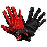 乗馬用グローブ ワッフル・レザー手袋 KE3(レッド×ブラック) 本皮 本革 手袋 Klaus 牛革 乗馬用品 赤×黒 KE3 (XXS)