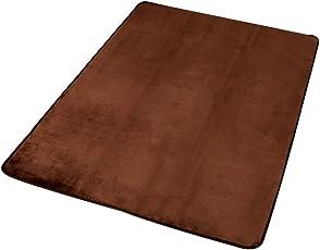 アイリスプラザ 心地よいサラふわ触感 ラグ カーペット 洗える フランネル 抗菌防臭 ブラウン 130×185cm ホットカーペット対応 滑り止め付き