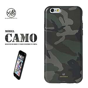 &y アンディ 【NEW モデル】 HB iPhone6 6s 対応 4.7インチ ソフトTPUケース マットタイプ GREEN CAMO カモフラージュ 迷彩 緑 フチ黒 (HB021)
