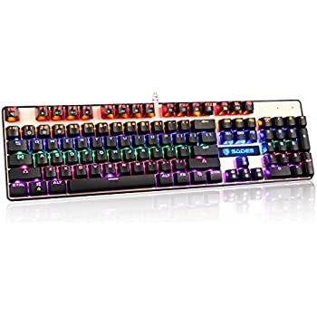 Sades K10 USB青軸有線機械 メカニカル ゲーミングキーボード 104キー RGB LEDバックライト US Layout 【12ヶ月保証】