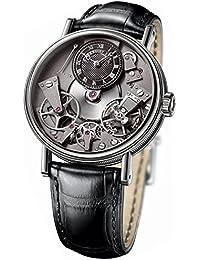 ブレゲ 伝統 ブラックスケルトン ダイヤル 18カラット ホワイトゴールド ブラック 革メンズ時計 7027BBG99V6