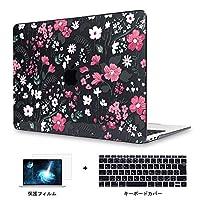 Redlai MacBook Pro Retina 15 インチ フラワープリント ハードプラスチックケース 対応モデル(A1398) Pro 15.4 インチ 専用シェルカバー ハードケース 花のプリントシェル 液晶保護フィルムと日本語キーボードカバー付き(かわいい花 Z066 ブラック)