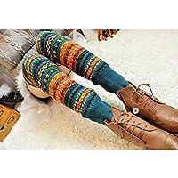 GGG 新しいファッションの女性着の冬の暖かいロングレッグウォーマーニットかぎソックス 針編みソックス レギンスストッキング(ブルー)