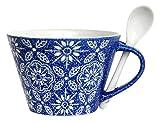 あまの(Amano) スープカップ 〔フラワー・スープマグ〕ブルー (スプーン付) LLT-0114