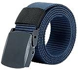 (ムジナ) mujina 高品質 ナイロンベルト 調整可能 軽量バックル メンズ 5色 フリーサイズ(約121cm) 128g (ネイビー)