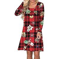 PinUp Angel Women Long Sleeve Cute Shift Floral Christmas Dress Buffalo Plaid Short Dress