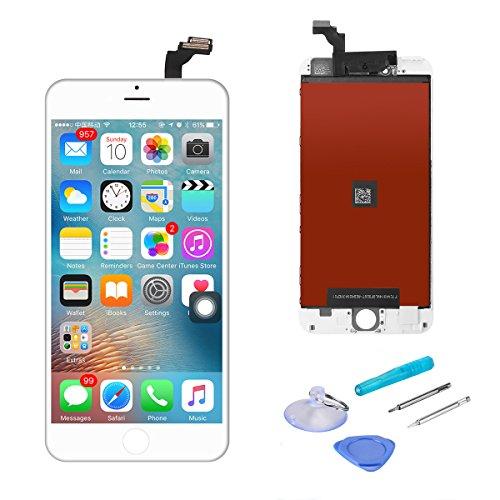 For iPhone6 Plus 5.5インチ フロントパネル A+ランク デジタイザ タッチパネル LCD 液晶セット ブラック アイフォーン修理バーツ 受話器の防塵ネット 交換工具付き(白)
