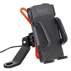 バイク スマホホルダー USB 電源 ON OFFスイッチ 付属 2.4A(5V   2.4A) 急速充電防水仕様 スマートフォン ホルダー 多機種対応!! ラバーグリップ2枚付属 【Barsado】 Ba2333 (ミラーバータイプ)