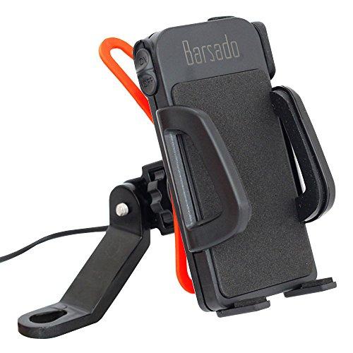 バイク スマホホルダー USB 電源 ON/OFFスイッチ 付属 2.4A(5V / 2.4A) 急速充電防水仕様 スマートフォン ホルダー 多機種対応!! ラバーグリップ2枚付属 【Barsado】 (ミラーバータイプ)Ba2333