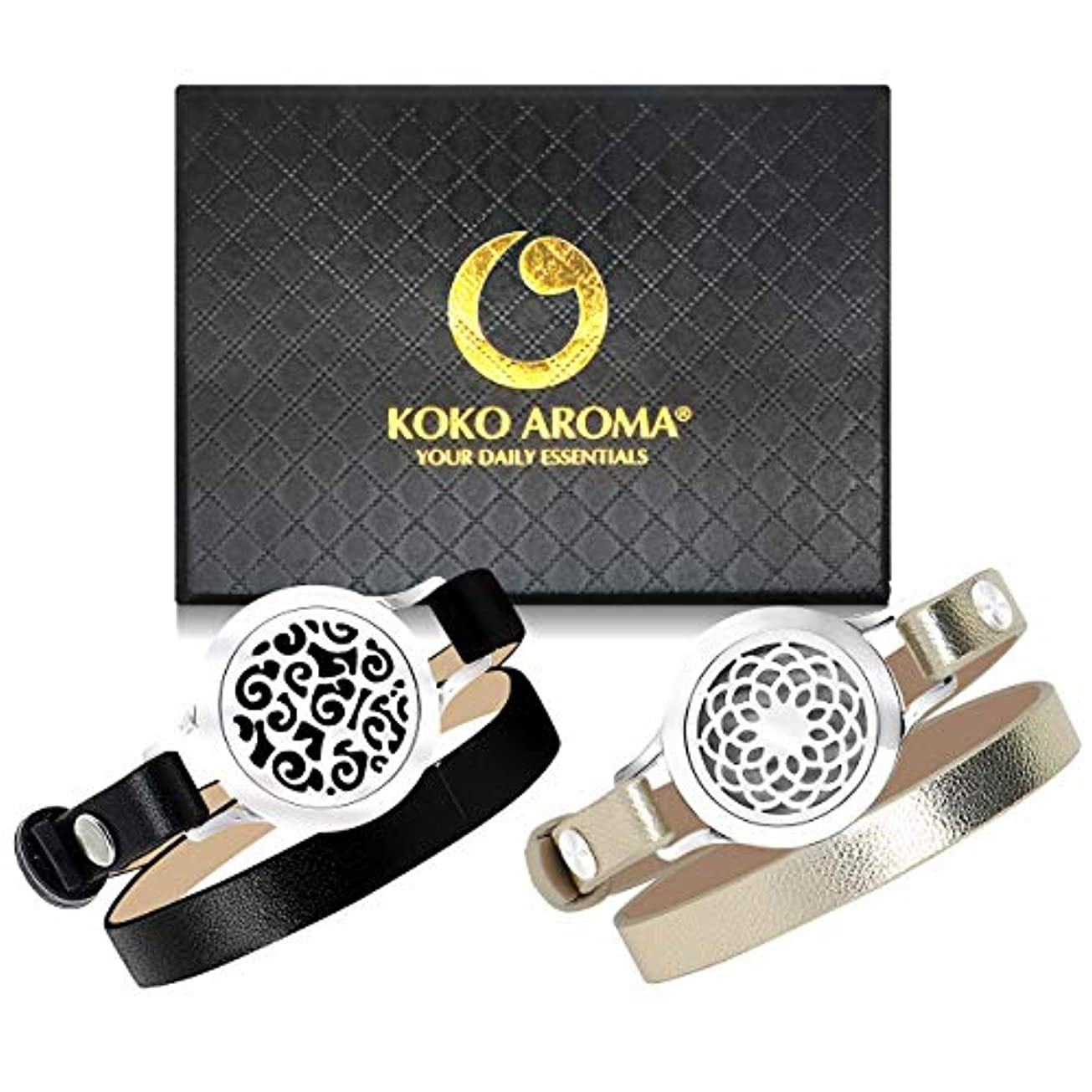 通知する長椅子百科事典KOKO AROMA Essential Oil Diffuser Bracelets 2pcs: Stainless Steel Aromatherapy Bangle or Leather Jewelry Woman...