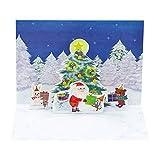 サンリオ クリスマスカード 洋風 二つ折り ポップアップ 森の中ツリーとサンタ動物にプレゼント S7128