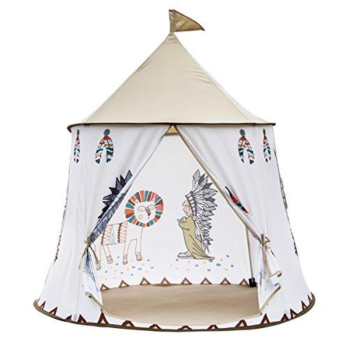XIANGYUE インディアン部落酋長スタイルの子供用の遊具テント、組み立てが簡単。ピーチスキン生地のキャッスルゲームテント、インディアン部落キャッスル遊具部屋、室内・屋外とも使用可能! 105cm(直径)x 130 cm(高さ)