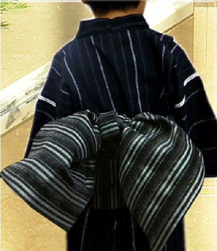 子供用簡単ふわっふわ兵児帯黒白ライン 男の子キッズ浴衣に