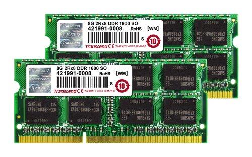 Transcend MacBook Pro &   Mac mini 対応メモリ PC3-12800 DDR3 1600 16GB  8GB×2  1.5V 204pin SO-DIMM  無期限保証  TS16GJMA424H