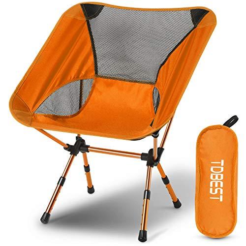 TDBEST アウトドアチェア キャンプ 椅子 折りたたみ 3段階伸縮調節 アルミ合金 超軽量 収納バッグ付き 持ち運びに便利 お釣り 登山 キャンプ用 (オレンジ)