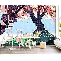 Wuyyii カスタム壁紙北欧手描き漫画ツリーテレビの背景壁のリビングルームの寝室の子供部屋3Dの壁紙-250X175Cm